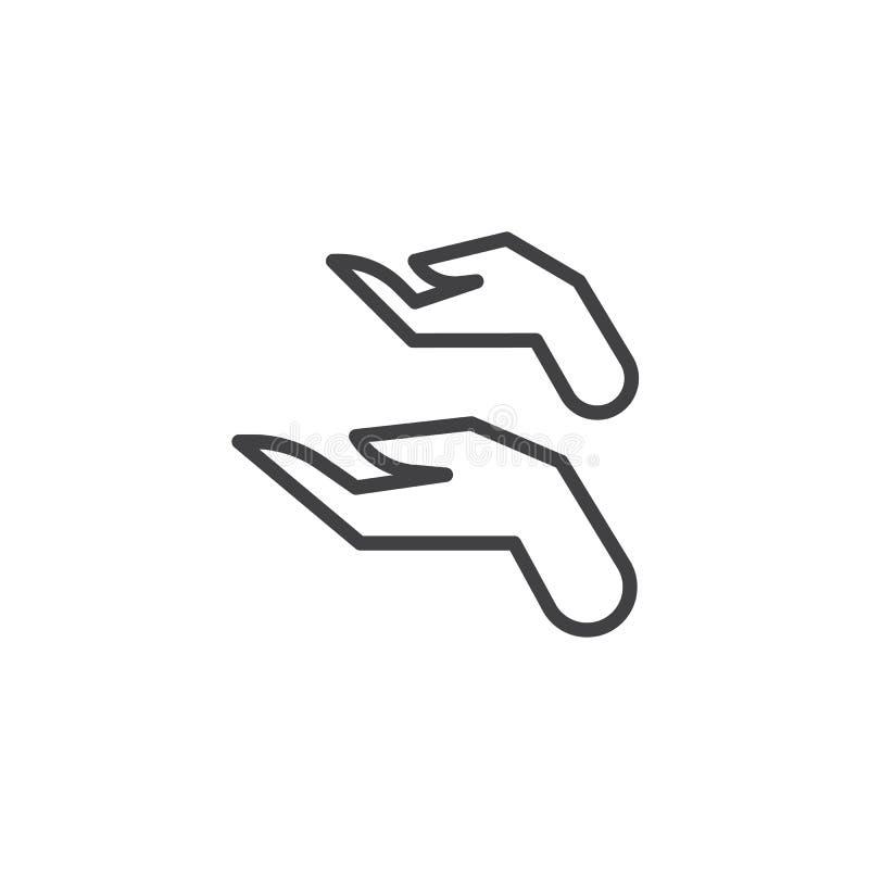 Dwa ręk linii otwarta ikona ilustracja wektor