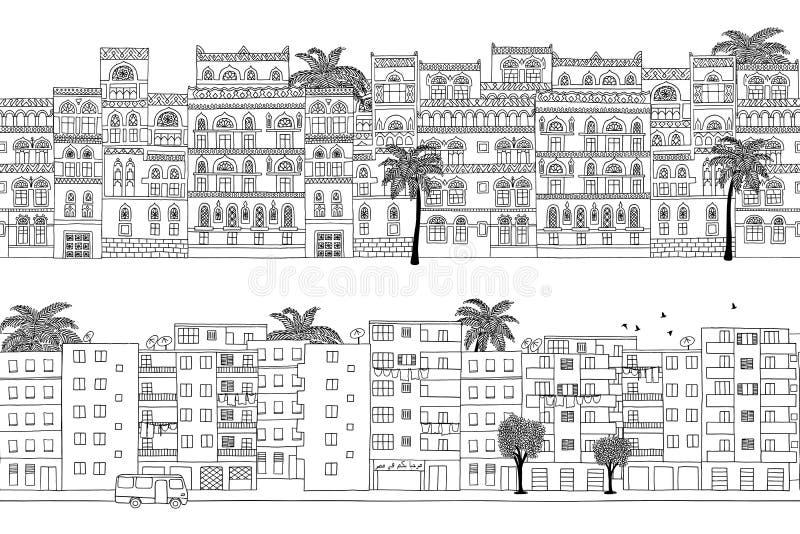 Dwa ręka rysującego bezszwowego miasto sztandaru Bliskowschodni domy ilustracji