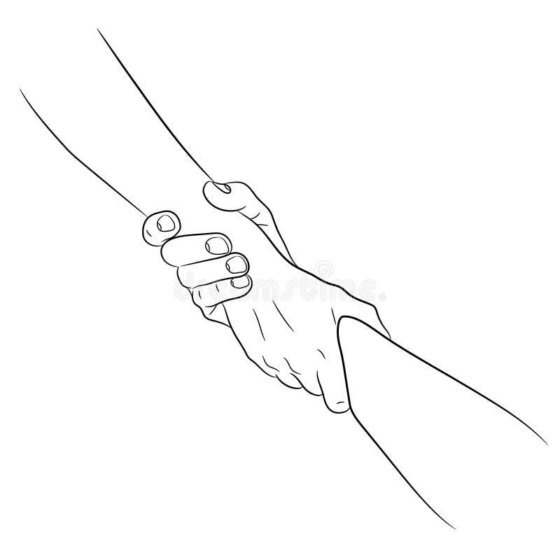 Dwa ręki bierze each innego pomocnej dłoni pojęcia ciągnienia włóczydło od konturowego czerni muśnięcia wykładają na białym tle w ilustracji