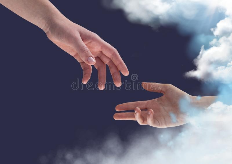 Dwa ręki dosięga w kierunku each inny przeciw niebieskiego nieba tłu ilustracji