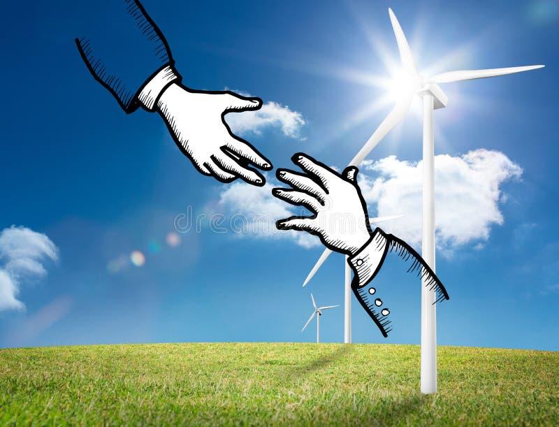 Dwa ręki graficznej na jaskrawej wsi z silnikami wiatrowymi ilustracji
