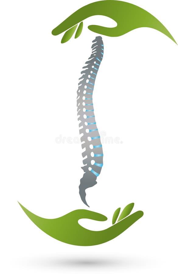 Dwa ręki i loga kręgosłupa, orthopedics i masażu, ilustracji