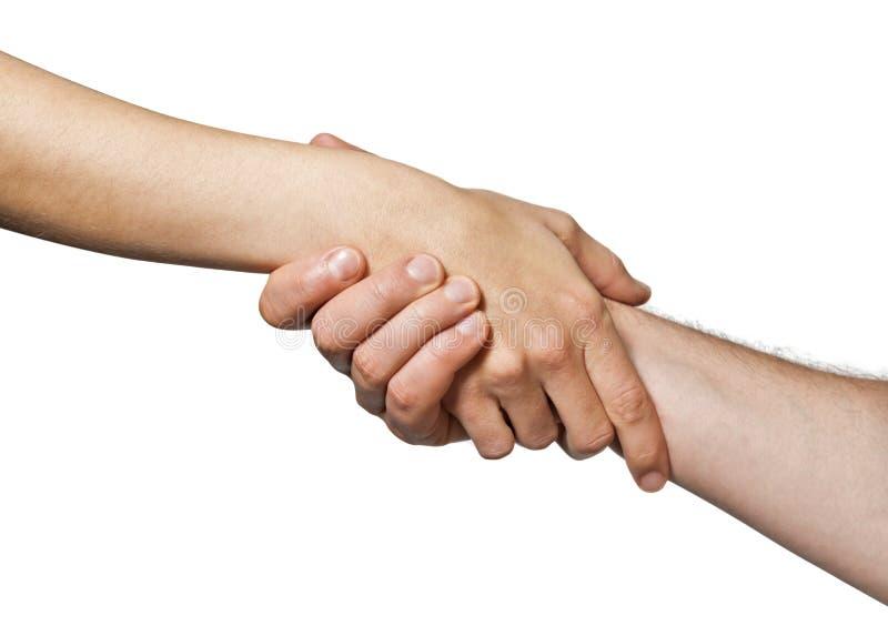 Dwa ręki jednoczącej w uścisku dłoni fotografia stock