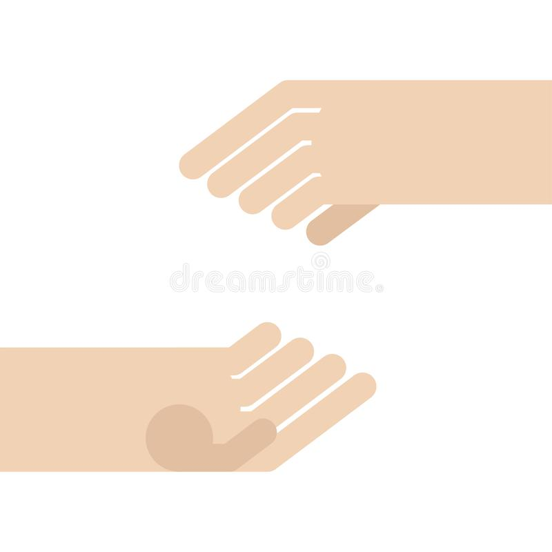 Dwa ręki opróżniają mienia odizolowywającego r?wnie? zwr?ci? corel ilustracji wektora royalty ilustracja