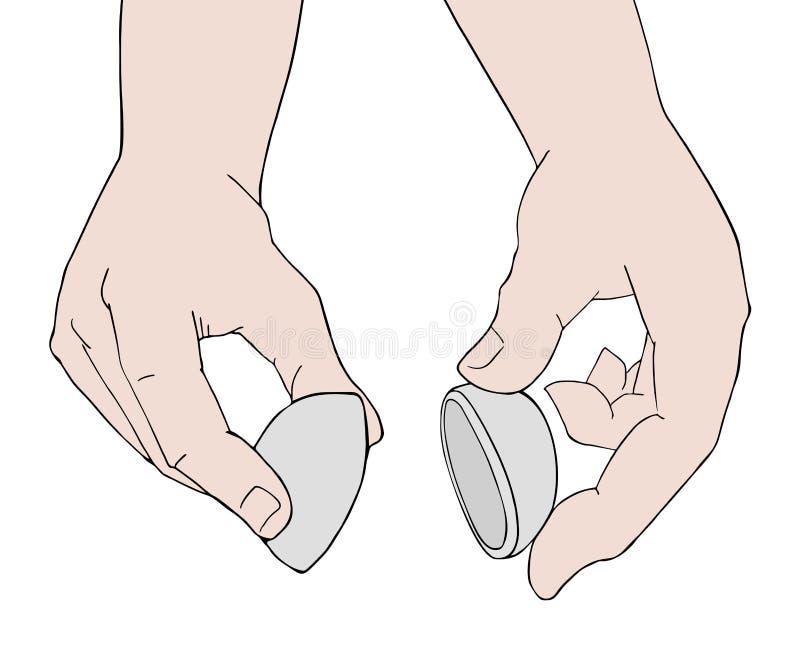 Dwa ręki otwiera tajemnicy piłkę ilustracji