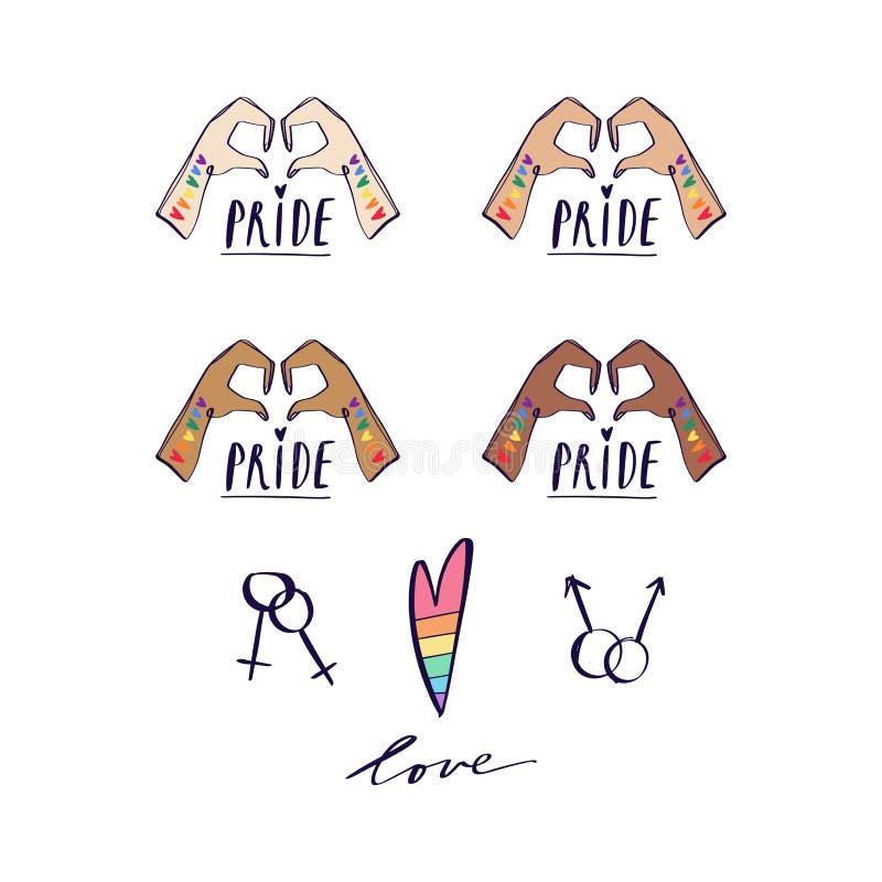 Dwa ręki pokazuje kierowego kształt LGBTQ odnosić sie symbol w menchiach i tęcza kolorach duma gej?w R??ni kolory sk?ry Druk dla  royalty ilustracja