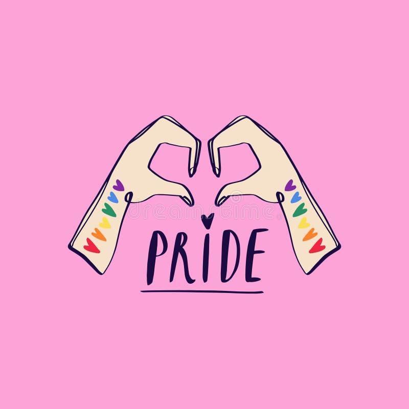 Dwa ręki pokazuje kierowego kształt LGBTQ odnosić sie symbol w menchiach i tęcza kolorach duma gej?w Raibow społeczności miesiąc  zdjęcie stock