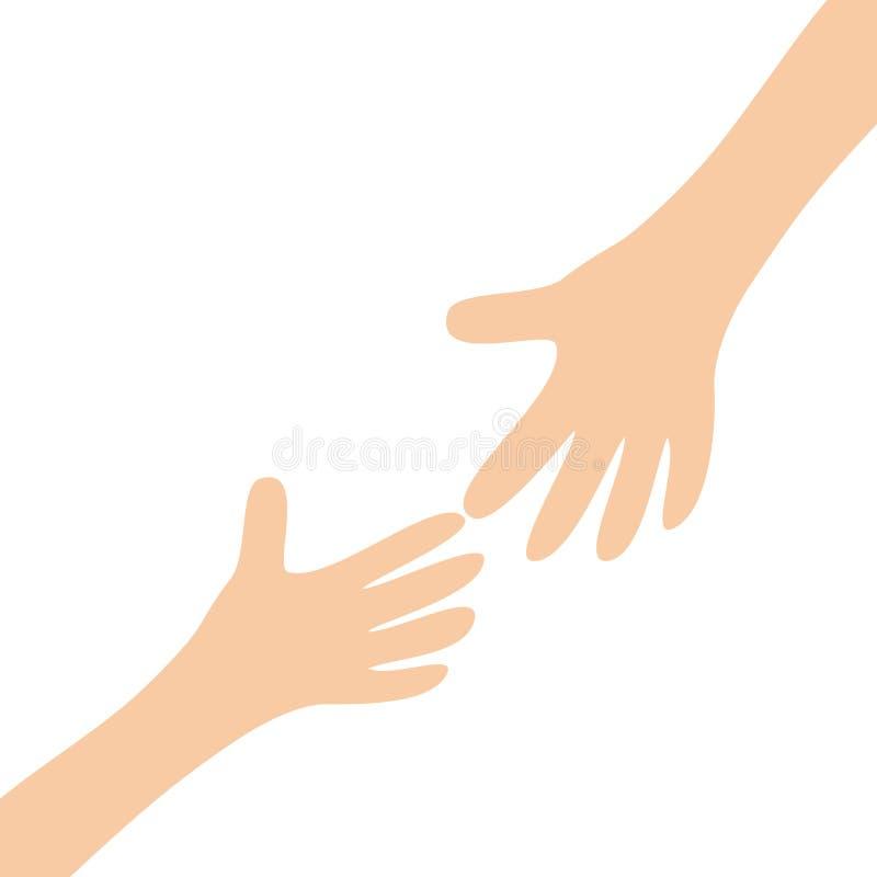Dwa ręki ręki dosięga each inny ręce mi Zamyka w górę części ciała szczęśliwe dni valentines Płaski projekt Miłości duszy prezent royalty ilustracja