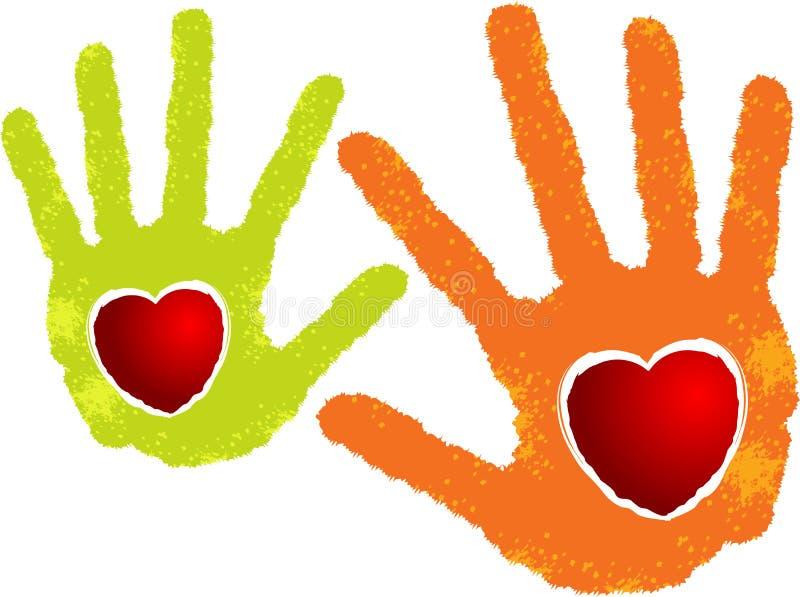 Dwa ręki serca logo ilustracji
