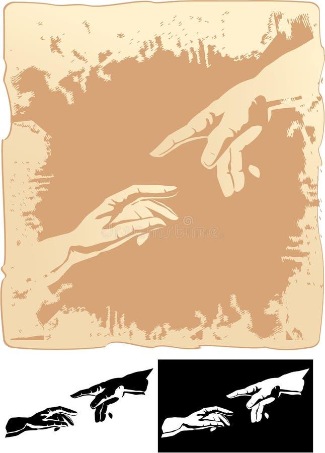 Dwa ręki stylizującej dla Michelangelo royalty ilustracja