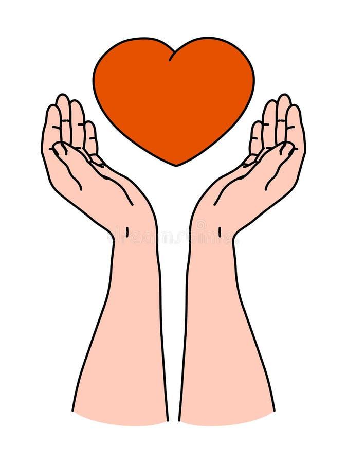 Dwa ręki trzyma czerwonego kierowego kształt jako symbol dawać miłości dla walentynki karty ilustracji