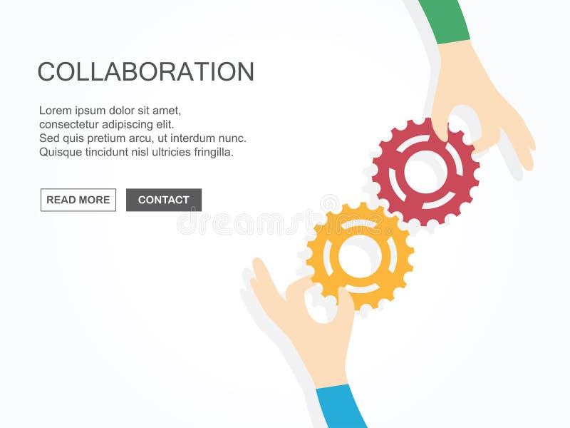 Dwa ręki trzyma przekładnie wpólnie Pracy zespołowej, partnerstwa, biznesu, współpracy i zarządzania pojęcie, royalty ilustracja