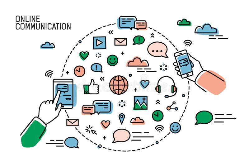 Dwa ręki trzyma smartphones i symbole ogólnospołeczni środki, internet sieci, gawędzenie i natychmiastowa przesyłanie wiadomości, ilustracji