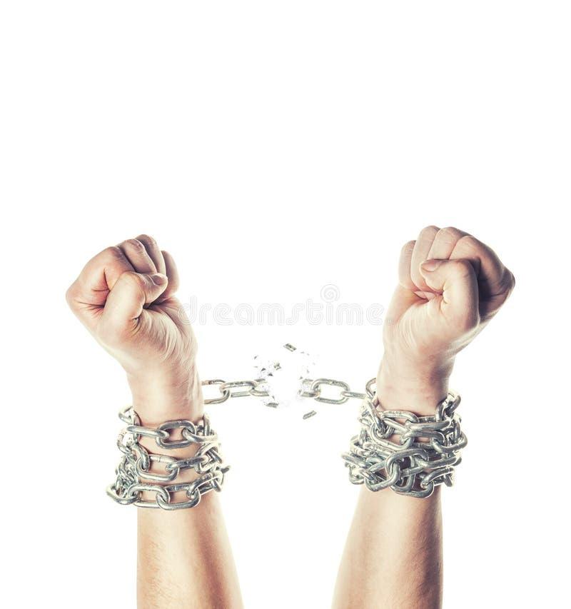 Dwa ręki w łańcuchach obrazy stock
