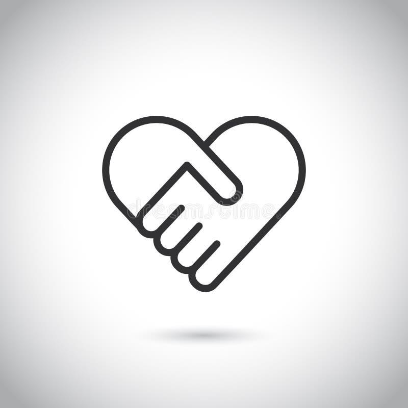 Dwa ręki w kształcie serce Wektorowy nowożytny cienieje kreskową ikonę ilustracji