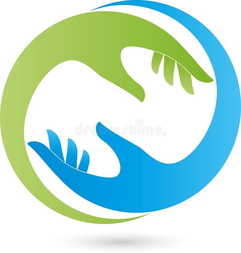 Dwa ręki w zieleni, błękitnego, ortopedycznego i pomagiera logu, ilustracja wektor