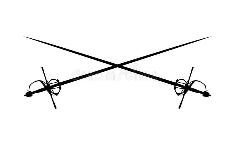 Dwa rapieru kordzika krzyżującego ilustracji