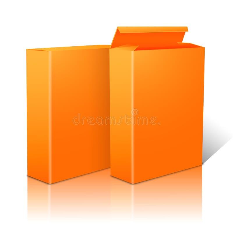 Dwa realistycznego jaskrawego pomarańczowego pustego papieru pakunku ilustracji