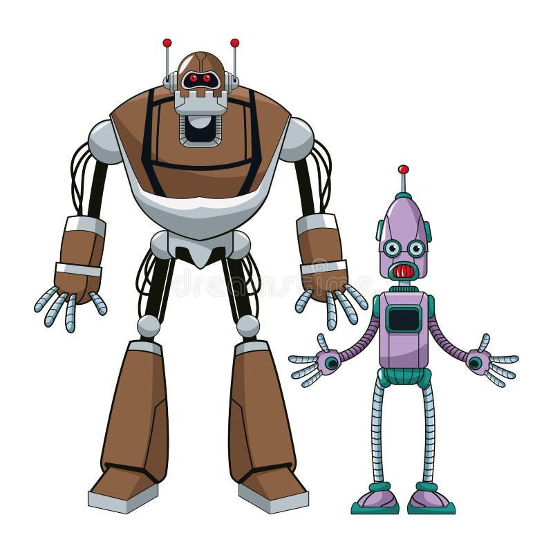Dwa robot futurystycznej technologii ilustracja wektor