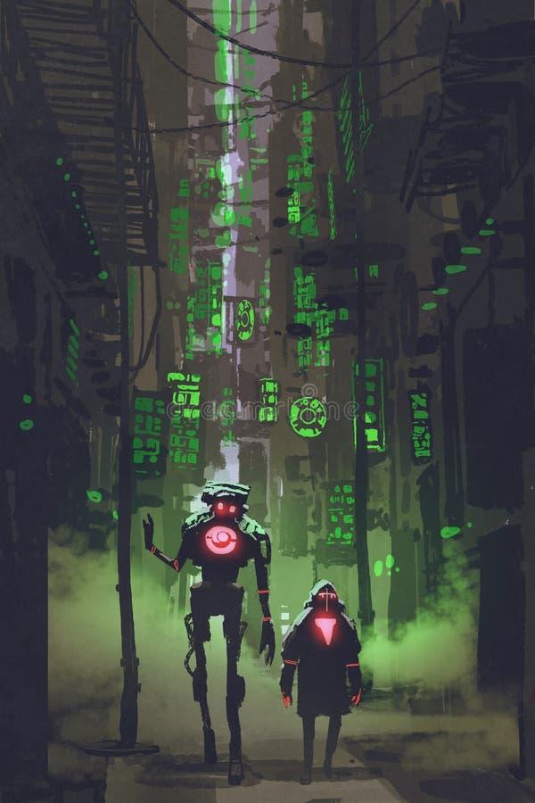 Dwa robota chodzi w wąskiej alei ilustracja wektor