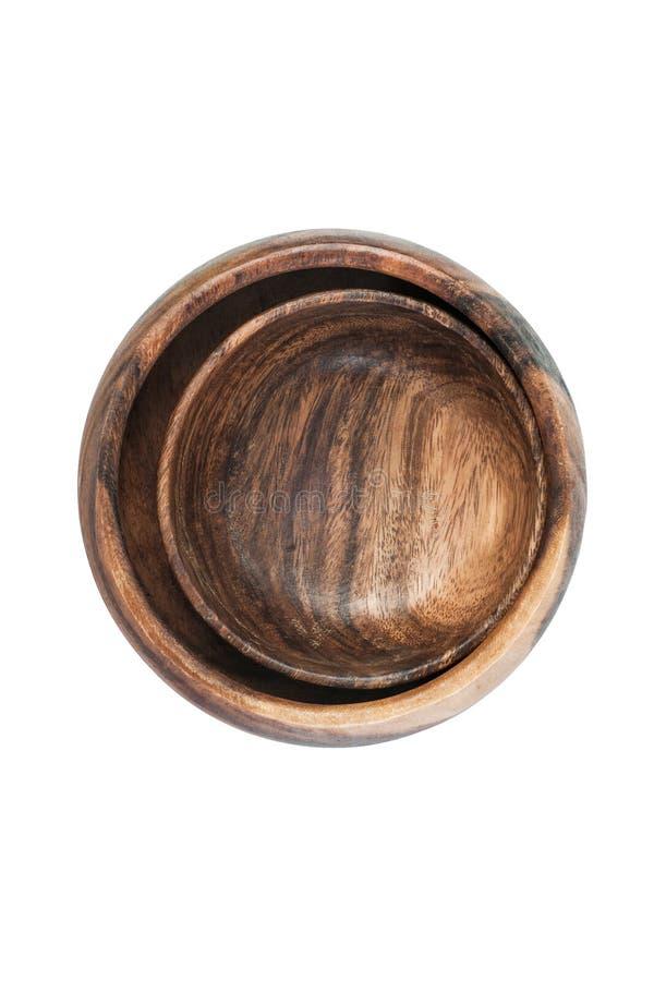 Dwa roczników pustego brązu drewniany puchar odizolowywający na białego tła Odgórnym widoku obrazy stock