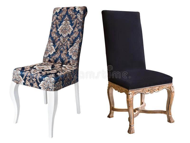 Dwa rocznika białego drewnianego krzesła z błękitnym i czarnym tapicerowaniem fotografia stock