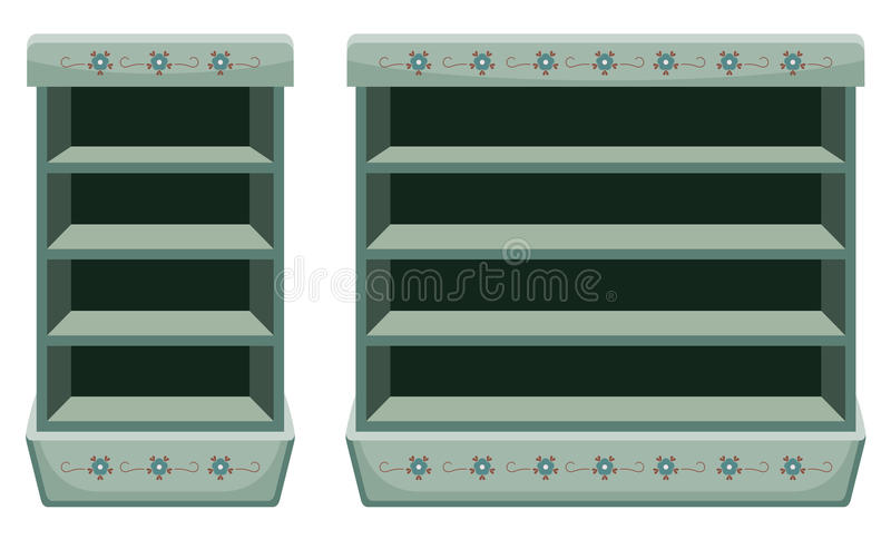Dwa rocznika stojaka z pustymi półkami również zwrócić corel ilustracji wektora ilustracja wektor