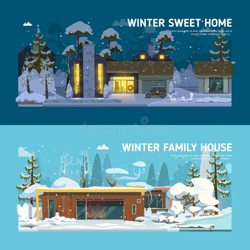 Dwa rodzin mieszkania i domu sztandary royalty ilustracja