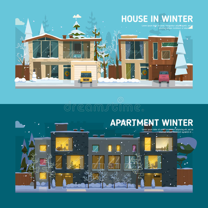 Dwa rodzin mieszkania i domu sztandary ilustracja wektor