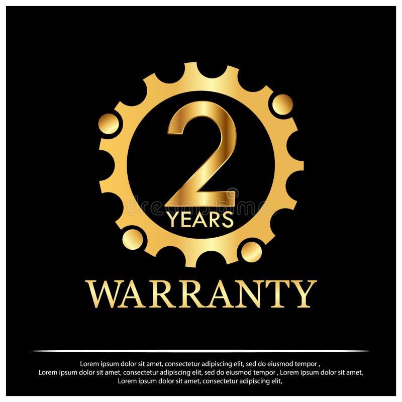 Dwa roku gwarancji złotej etykietki na czarnym tle ilustracja wektor