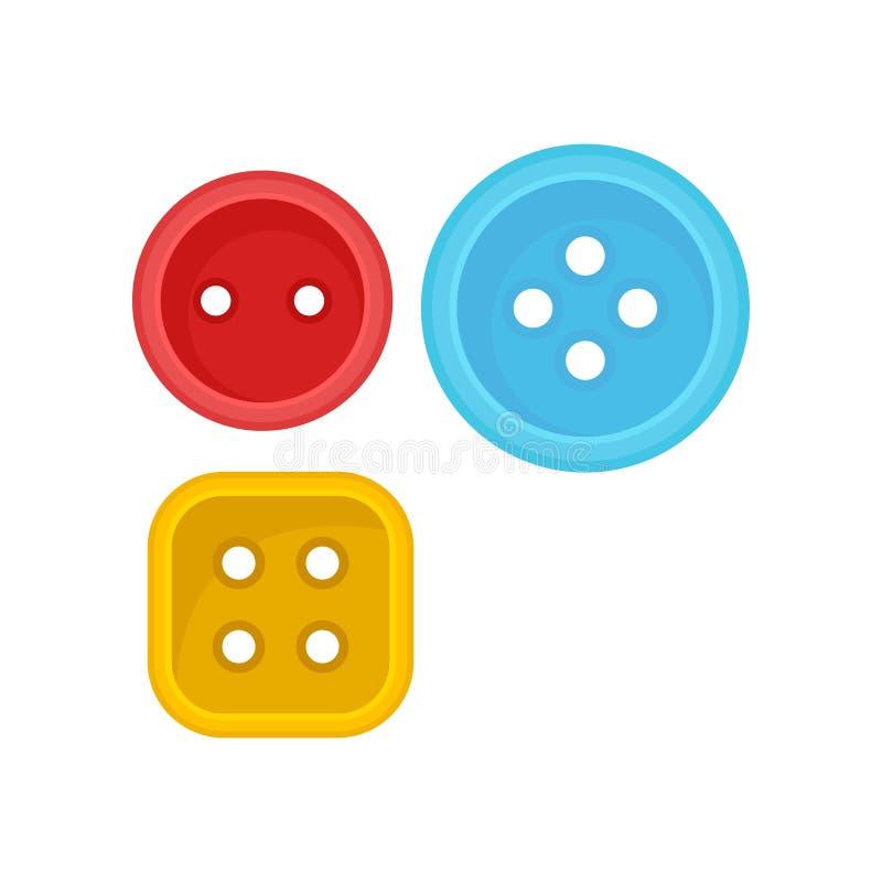 Dwa round i kwadratów ubrań jeden guzika szyć wyposażenia Płascy wektorowi elementy dla plakata rękodzieło sklep ilustracji