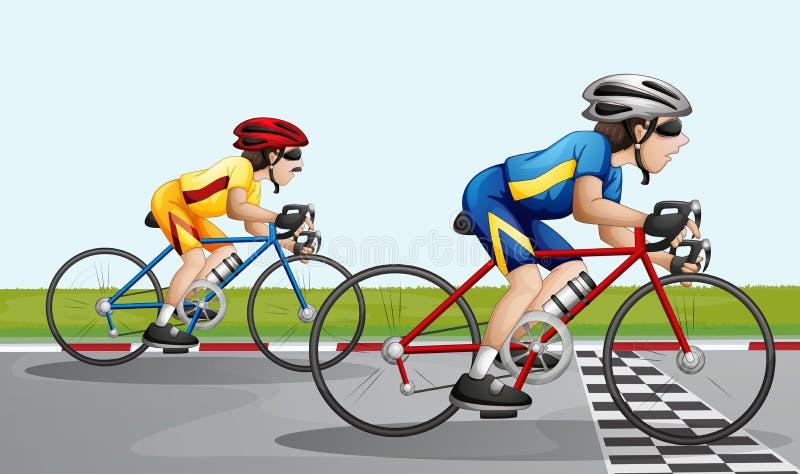 Dwa rowerzystów ścigać się ilustracja wektor