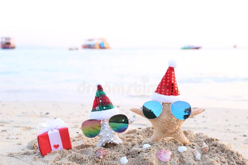 Dwa rozgwiazda na morze plaży z okularami przeciwsłonecznymi i Santa kapeluszem dla Wesoło bożych narodzeń i nowy rok fotografia royalty free