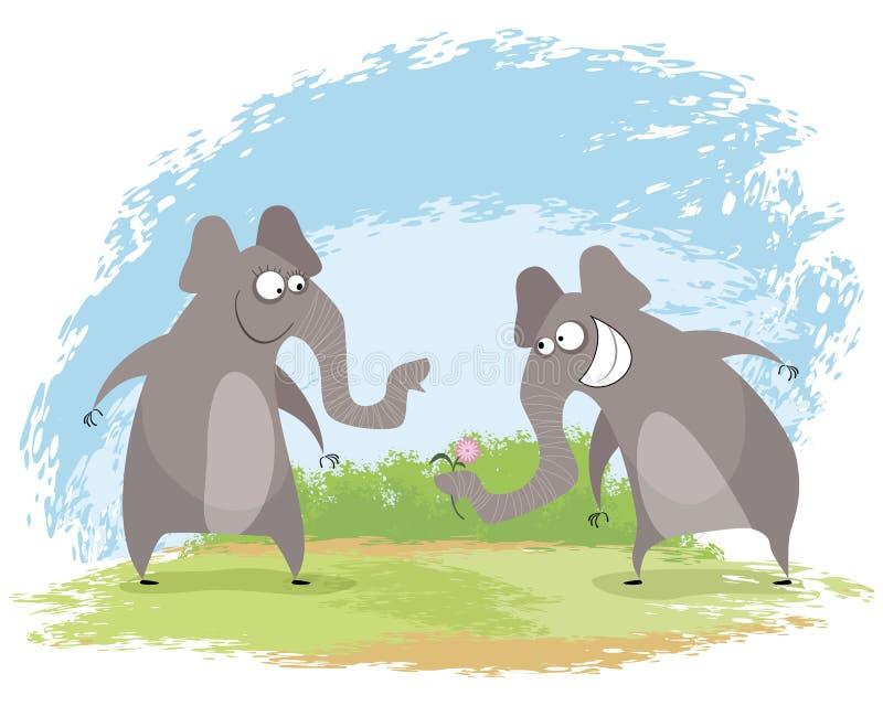 Dwa słoni miłość ilustracji