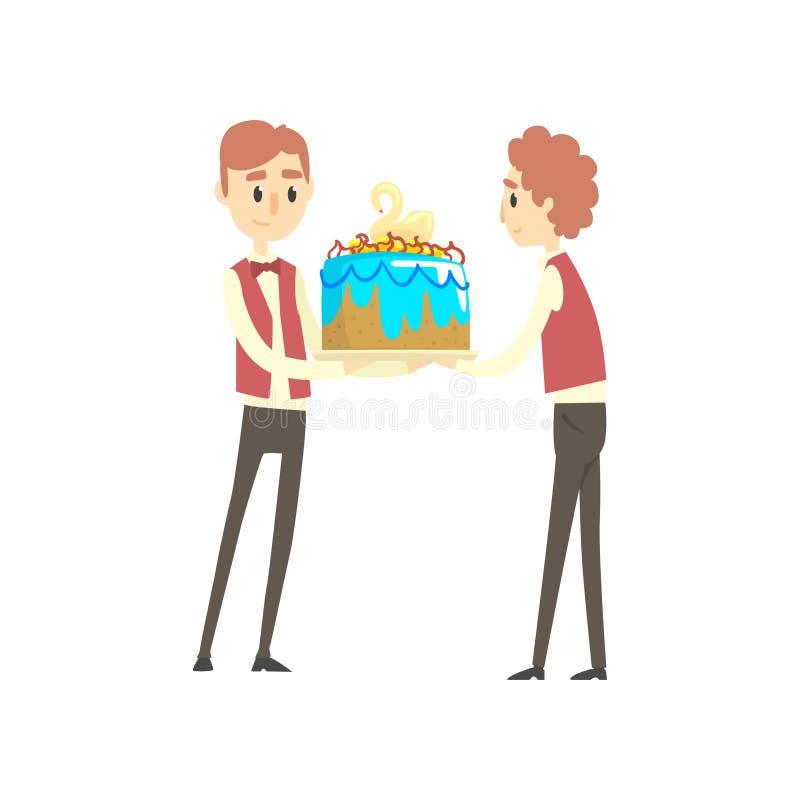 Dwa samiec kelner trzyma świątecznego tort z łabędzią kreskówka wektoru ilustracją ilustracja wektor