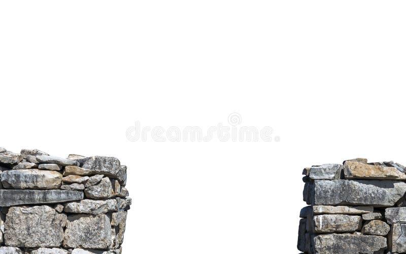 Dwa segmentu stara kamienna ściana zdjęcie stock