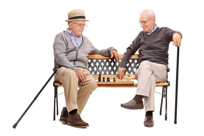 Dwa seniora bawić się szachy sadzającego na ławce fotografia royalty free