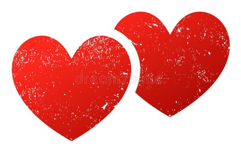 Dwa serc łączący grunge ilustracji