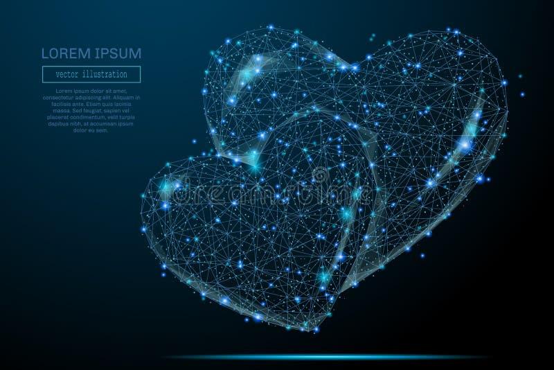 Dwa serc niski poli- błękit ilustracji