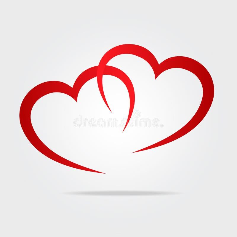 Dwa serc symbolu czerwona miłość jako logo, akcyjna wektorowa ilustracja royalty ilustracja