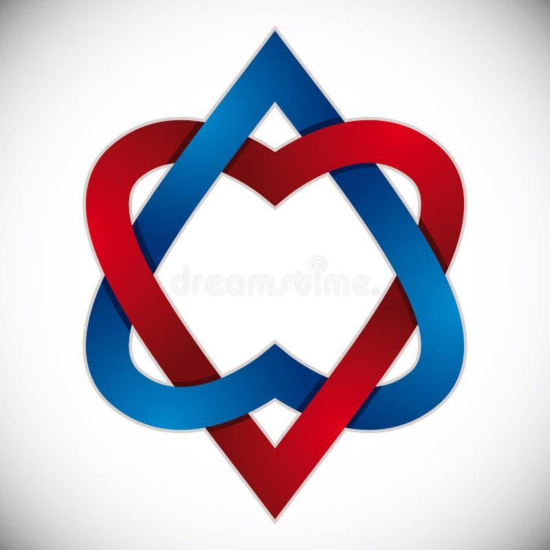 Dwa serca łączącego ilustracji