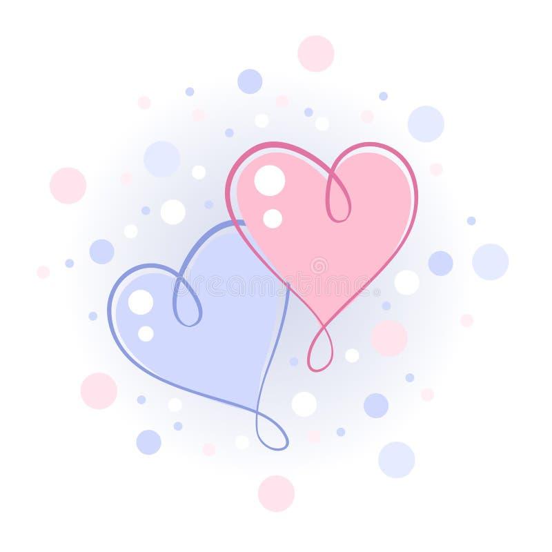 dwa serca ilustracja wektor
