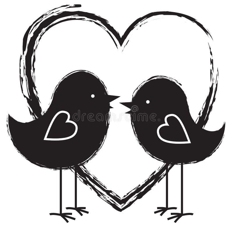 Download Dwa serca i ptaki ilustracja wektor. Ilustracja złożonej z emocje - 28959634