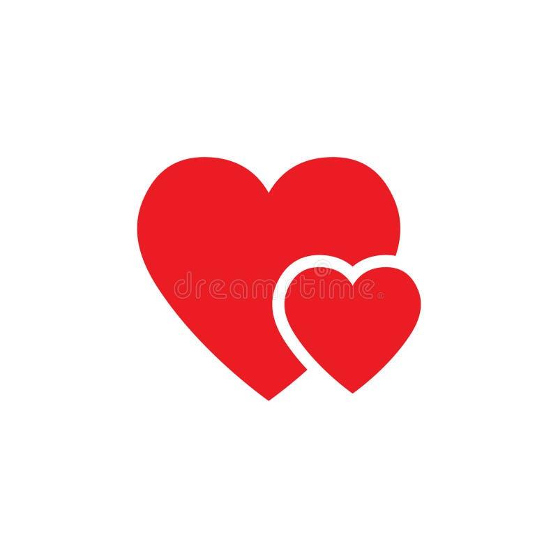 Dwa serca ikona, wektor odizolowywali miłości czerwieni symbol royalty ilustracja