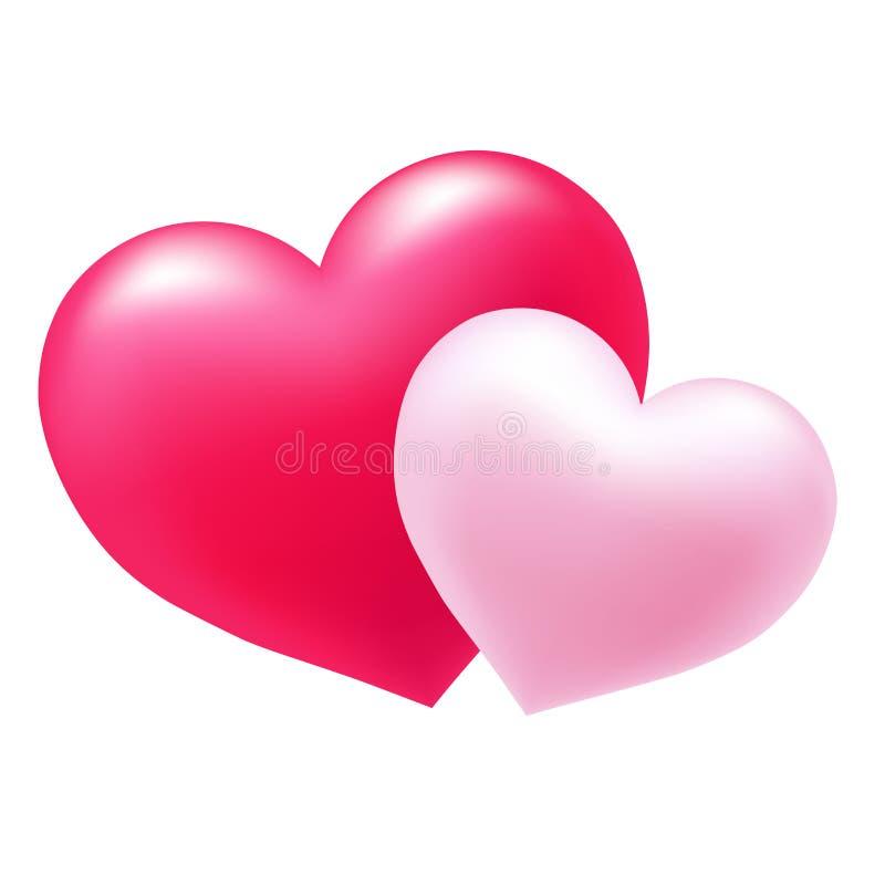 Dwa serca jako symbol miłość ilustracja wektor