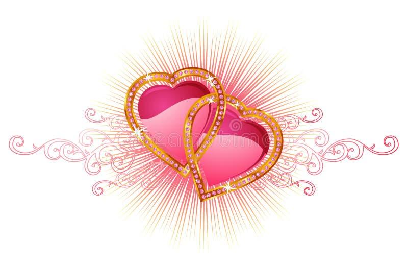 dwa serca kochają wektora royalty ilustracja