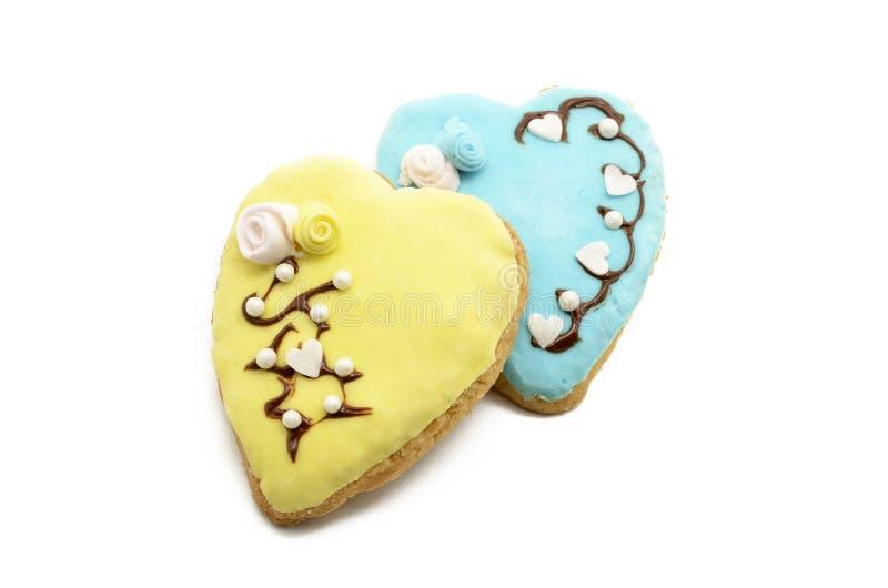 Dwa serca kształtnego ciastka zdjęcie royalty free