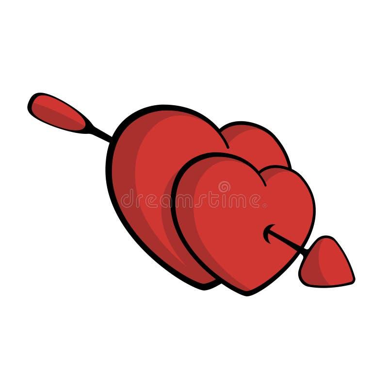 Dwa serca przebijającego z strzałą, spada w miłość wektorze ilustracji