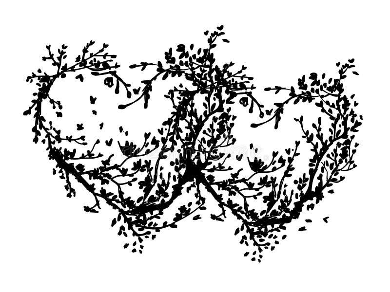Dwa serca robić od Sakura drzewa dla twój projekta royalty ilustracja