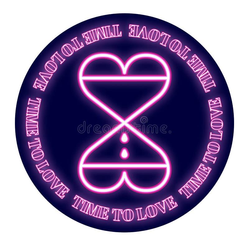 Dwa serca w postaci hourglass na round tle Projekt dla walentynki ` s dnia Neonowa łuna przedstawia ilustracji